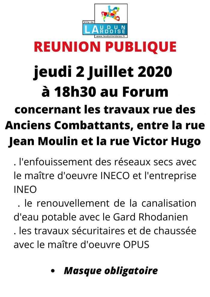 Réunion publique 2 juillet 18h30 Forum
