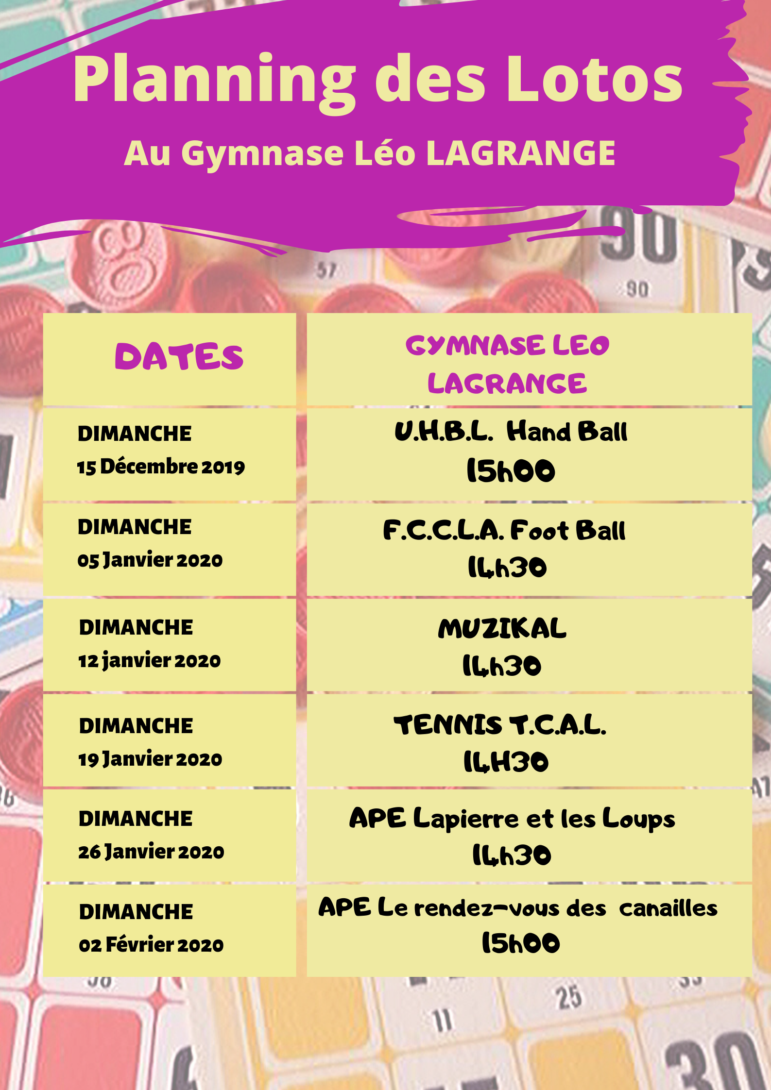 planning des Lotos